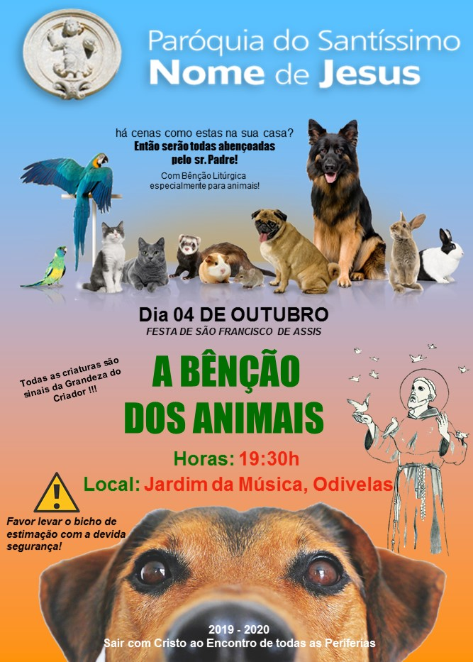 Cartaz bênção animais